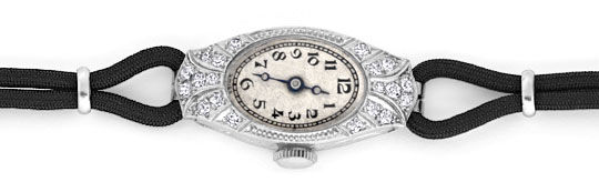 Foto 1, Art Deco Orig. Platin Diamanten Damen Armbanduhr Topuhr, U1006