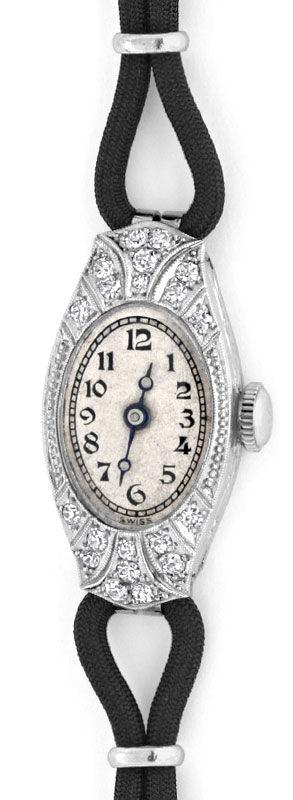 Foto 2, Art Deco Orig. Platin Diamanten Damen Armbanduhr Topuhr, U1006