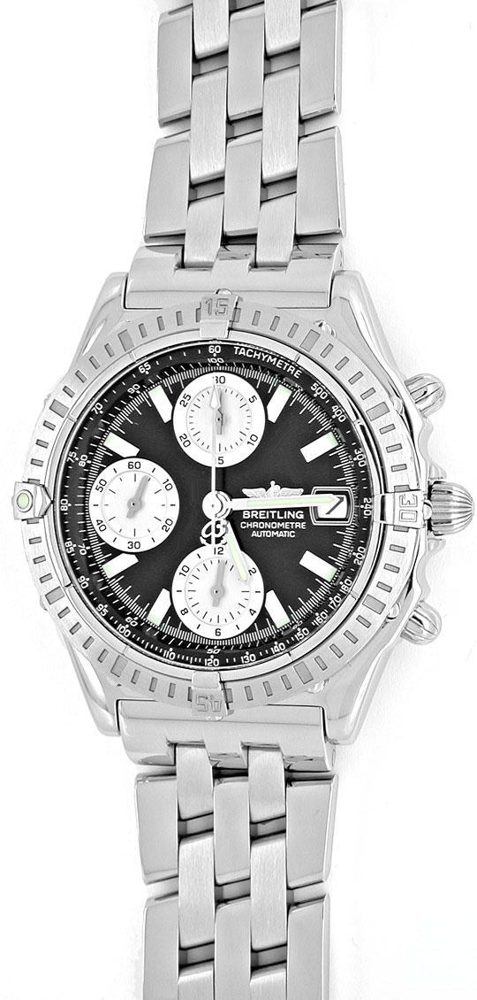 Foto 2, Breitling Chronomat Hr-Uhr Stahl Pilotband Topuhr Neuz., U1008