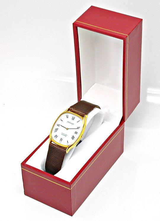 Foto 4, Tissot Herren-Armbanduhr 14K-Gelbgold Topuhr Ungetragen, U1020