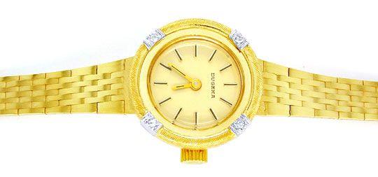 Foto 1, Dugena Diamant-Damenuhr 14K Gelbgold Top-Uhr Ungetragen, U1021