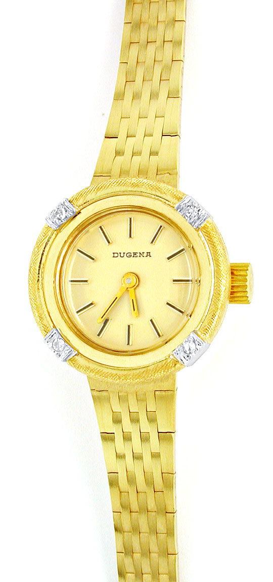 Foto 2, Dugena Diamant-Damenuhr 14K Gelbgold Top-Uhr Ungetragen, U1021
