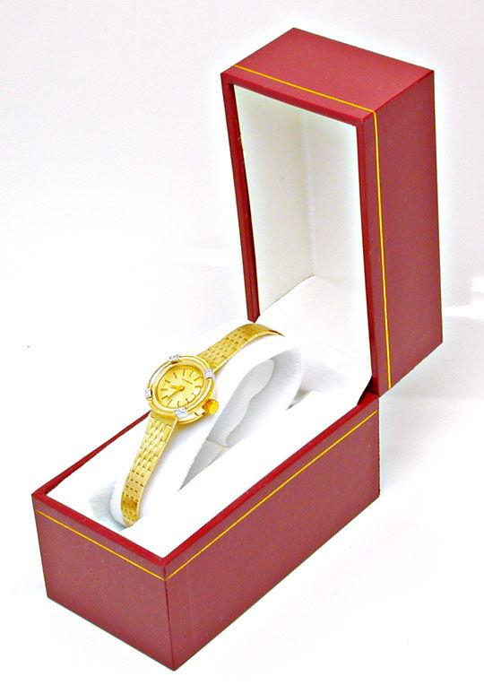 Foto 4, Dugena Diamant-Damenuhr 14K Gelbgold Top-Uhr Ungetragen, U1021
