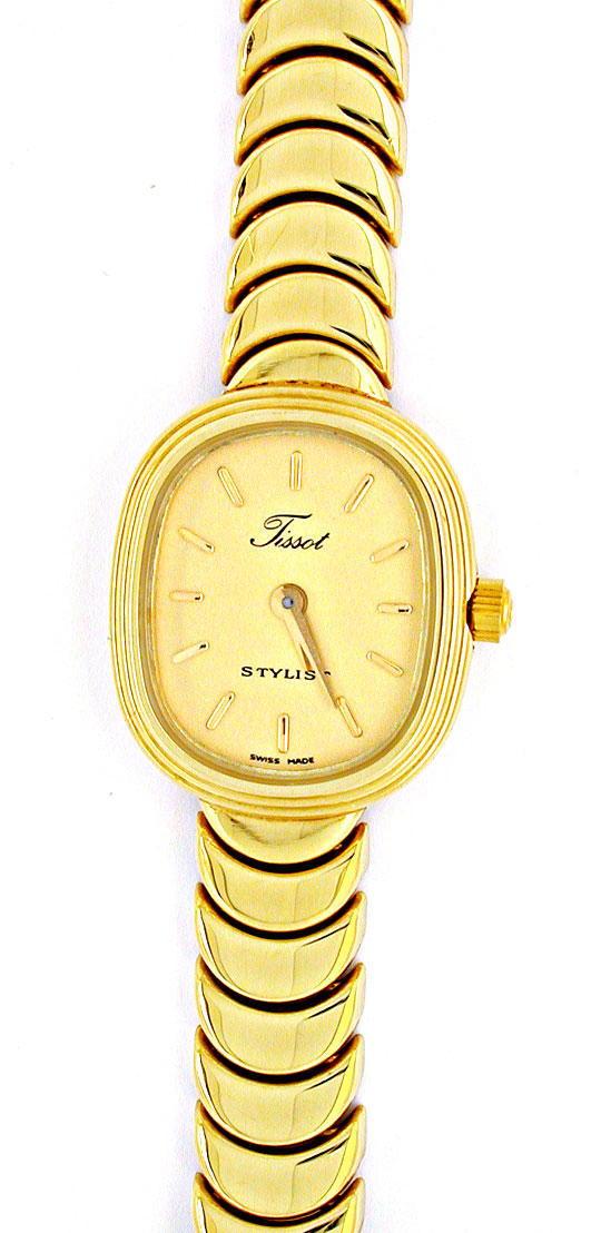 Foto 2, Tissot Damen-Armbanduhr 14K-Gelbgold Topuhr Ungetragen!, U1022