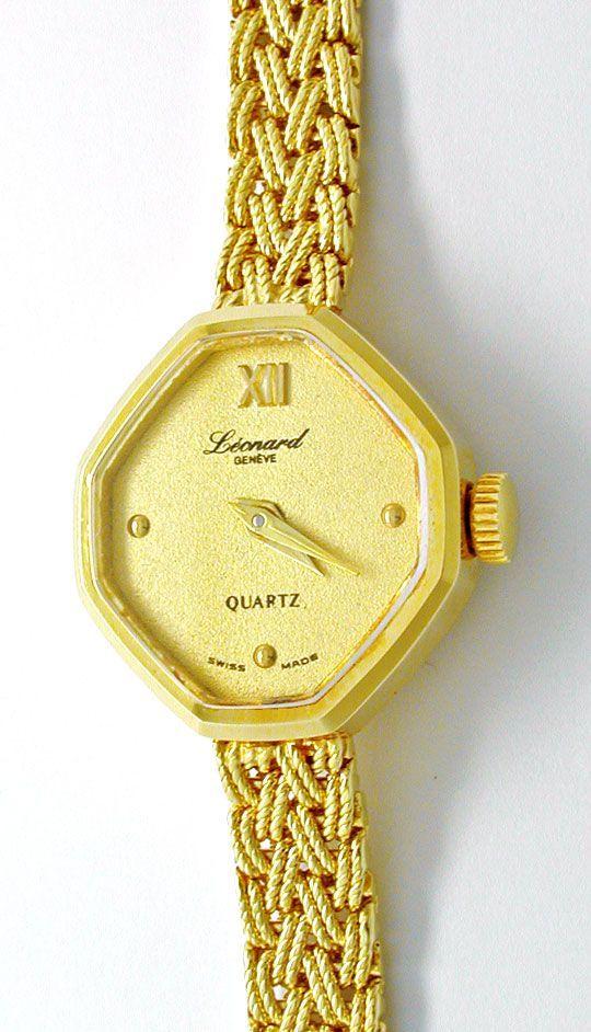 Foto 2, Tolle Damen-Armbanduhr, 14K-Gelbgold Topuhr Ungetragen!, U1023