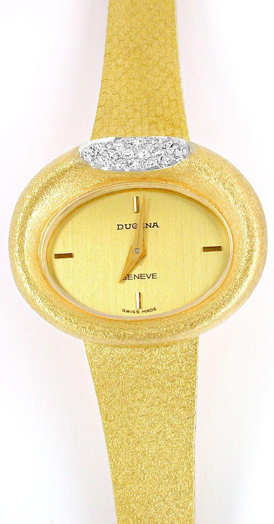 Foto 2, Dugena Diamant-Damenuhr 14K-Gelbgold Topuhr Ungetragen!, U1024