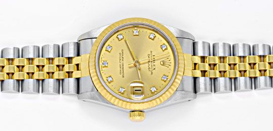 Foto 1, Rolex Datejust Medium Stahlgold Jubile Diamanten Topuhr, U1027