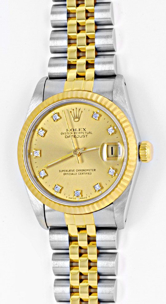 Foto 2, Rolex Datejust Medium Stahlgold Jubile Diamanten Topuhr, U1027