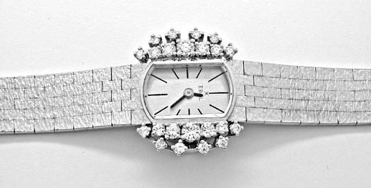 Foto 1, Damen-Diamanten-Armbanduhr, 18K-Weissgold 0,78ct Topuhr, U1030