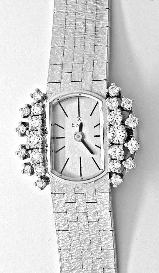 Foto 2, Damen-Diamanten-Armbanduhr, 18K-Weissgold 0,78ct Topuhr, U1030