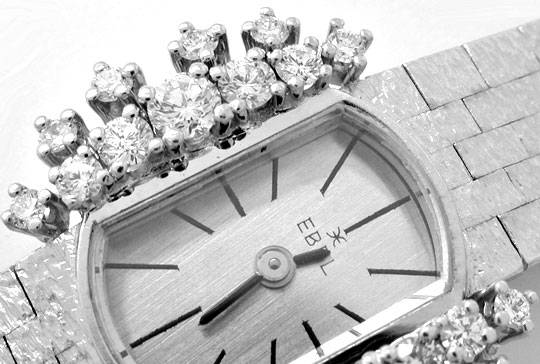 Foto 3, Damen-Diamanten-Armbanduhr, 18K-Weissgold 0,78ct Topuhr, U1030