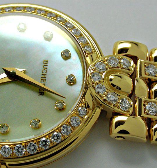 Foto 3, Bucherer Boheme Damenuhr Gold Brillanten Geprüft Neuz.!, U1034