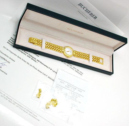 Foto 5, Bucherer Boheme Damenuhr Gold Brillanten Geprüft Neuz.!, U1034