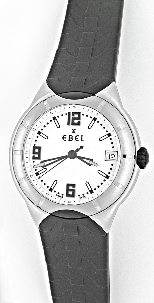 Foto 2, Ebel E-Type Edelstahl-Kautschuk Herrenarmbanduhr Topuhr, U1035