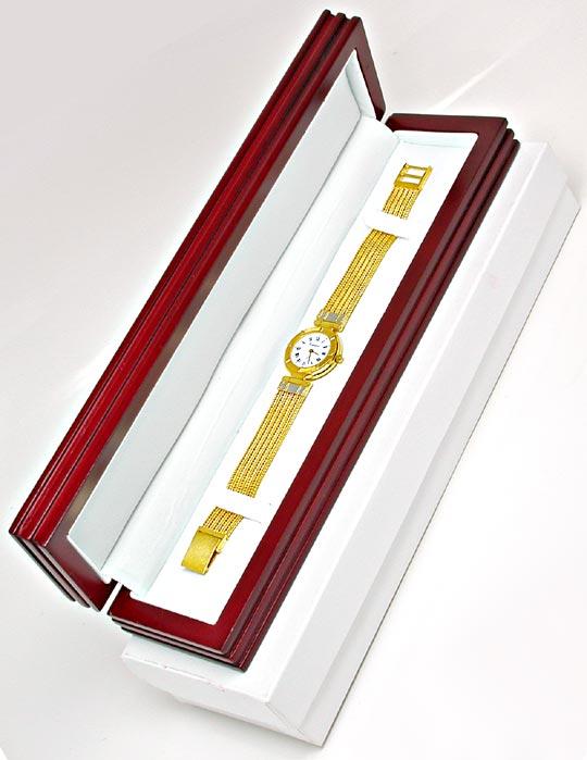 Foto 5, Guepard Damen-Armbanduhr massiv Gold Topuhr Ungetragen!, U1041