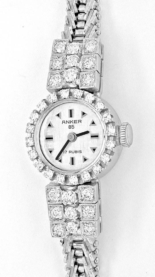 Foto 2, Diamant-Damen-Armbanduhr Weissgold 1.14ct Topuhr Neuz.!, U1043
