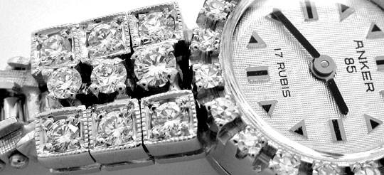 Foto 3, Diamant-Damen-Armbanduhr Weissgold 1.14ct Topuhr Neuz.!, U1043