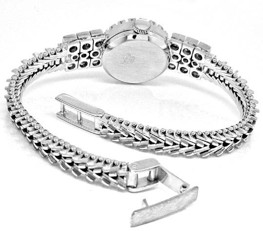 Foto 4, Diamant-Damen-Armbanduhr Weissgold 1.14ct Topuhr Neuz.!, U1043