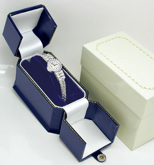 Foto 5, Diamant-Damen-Armbanduhr Weissgold 1.14ct Topuhr Neuz.!, U1043
