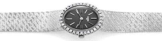 Foto 1, Brilliant-Damen-Uhr, 32 Diamanten, 18K Weissgold Topuhr, U1048