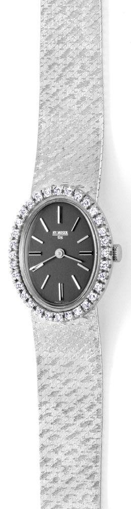 Foto 2, Brilliant-Damen-Uhr, 32 Diamanten, 18K Weissgold Topuhr, U1048