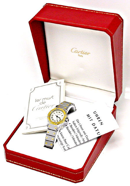 Foto 5, Cartier Damen Santos Quarz 8-Eck Ronde Stahlgold Topuhr, U1050