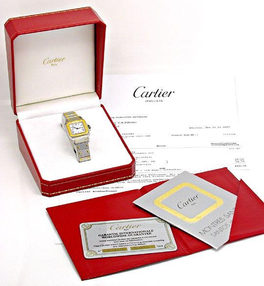 Foto 4, Cartier Santos Damenuhr Stahlgold Automatik Topuhr Neuw, U1051