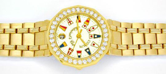 Foto 1, Corum, Admirals Cup Damen Gold Diamanten Geprüft Neuz.!, U1054
