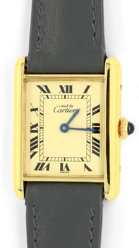 Foto 2, Cartier Tank Must.de Cartier Da Silber-Gold Topuhr Neuz, U1055