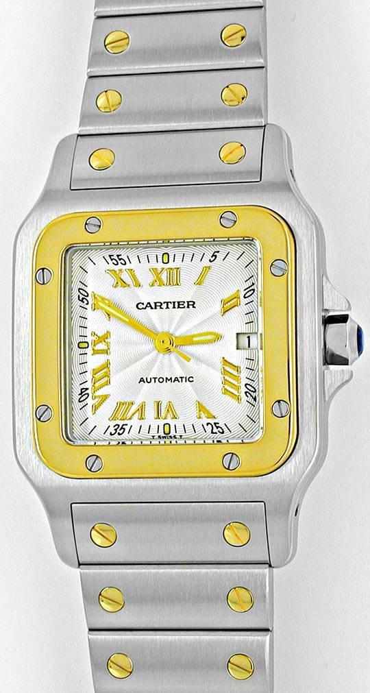 Foto 2, Cartier Santos Automatik Herren Stahlgold Topuhr Neuz.!, U1056