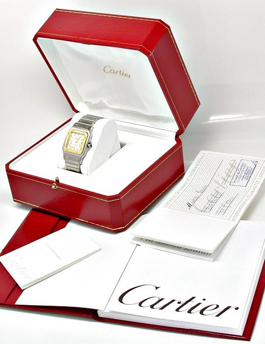 Foto 5, Cartier Santos Automatik Herren Stahlgold Topuhr Neuz.!, U1056