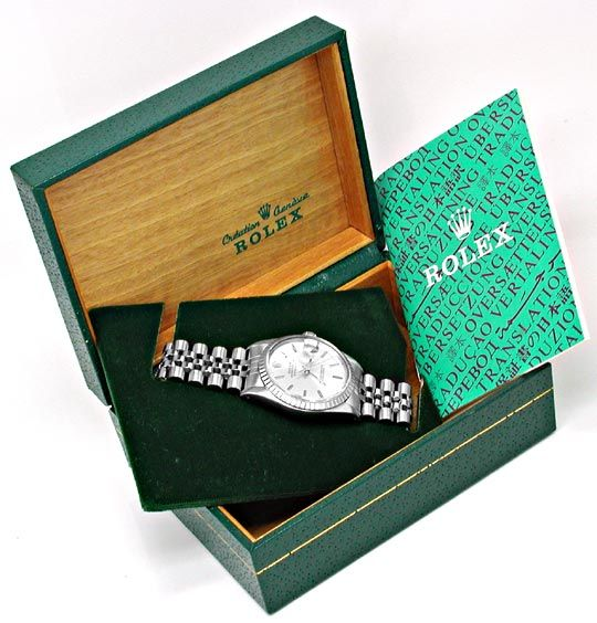 Foto 5, Rolex Datejust Herren Armbanduhr Stahl Automatik Topuhr, U1059