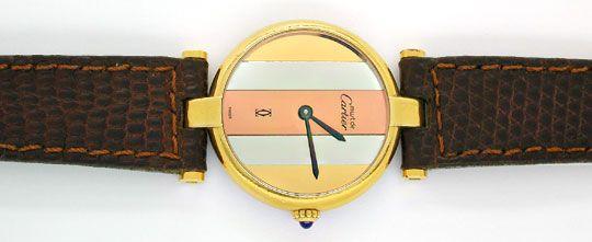 Foto 1, Damenuhr VLC Vendome Louis Cartier Silber 3 Gold Topuhr, U1068