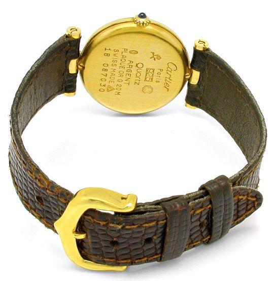 Foto 4, Damenuhr VLC Vendome Louis Cartier Silber 3 Gold Topuhr, U1068