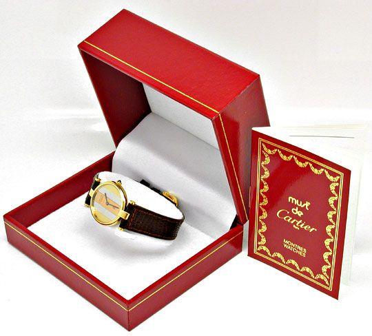 Foto 5, Damenuhr VLC Vendome Louis Cartier Silber 3 Gold Topuhr, U1068