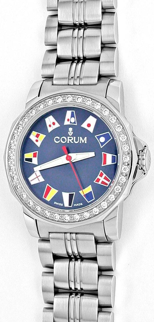 Foto 2, Corum Damen Admirals Cup ST Diamant Lünette Topuhr Neu!, U1071