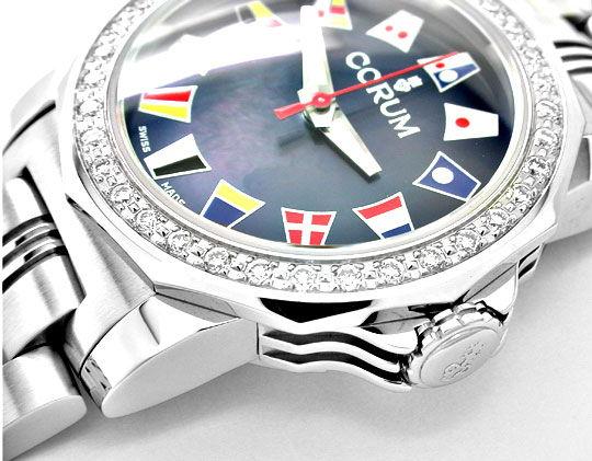 Foto 3, Corum Damen Admirals Cup ST Diamant Lünette Topuhr Neu!, U1071