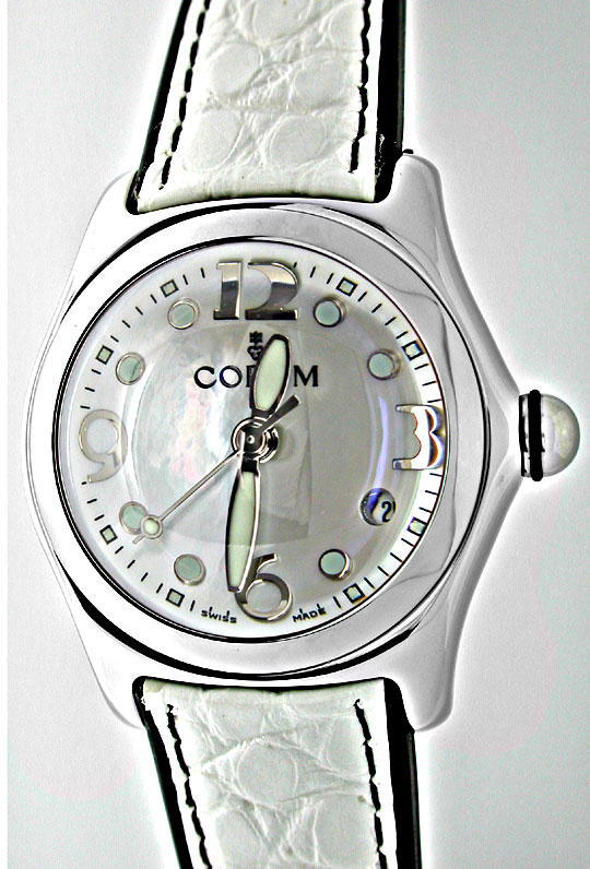 Foto 2, Corum Medium Bubble ST Perlmutt Zifferblatt Topuhr Neu!, U1076