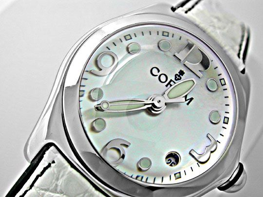 Foto 3, CORUM MEDIUM BUBBLE ST PERLMUTT-ZIFFERBLATT TOPUHR NEU!, U1076