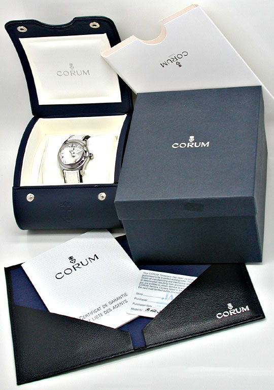 Foto 6, CORUM MEDIUM BUBBLE ST PERLMUTT-ZIFFERBLATT TOPUHR NEU!, U1076