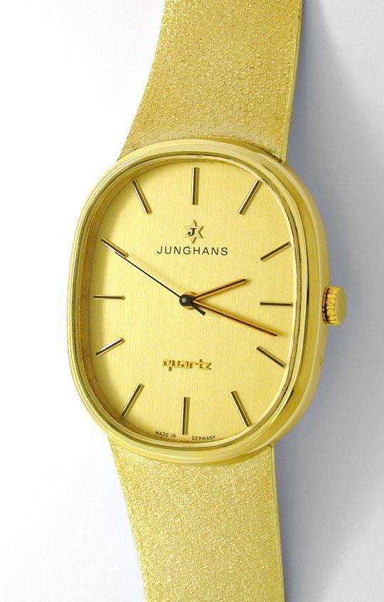 Foto 2, Junghans Herren Armbanduhr Gold Armband Gelbgold Topuhr, U1078