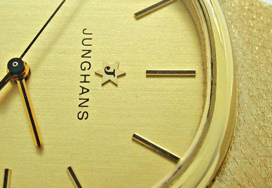 Foto 3, Junghans Herren Armbanduhr Gold Armband Gelbgold Topuhr, U1078