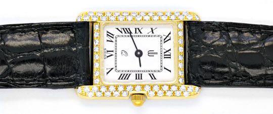 Foto 1, Damen Armbanduhr Gold Brillanten Ultraflach Topuhr Neuz, U1080
