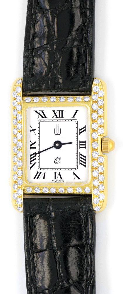 Foto 2, Damen Armbanduhr Gold Brillanten Ultraflach Topuhr Neuz, U1080