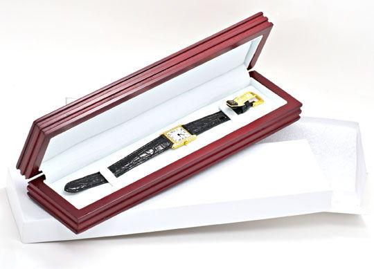 Foto 5, Damen Armbanduhr Gold Brillanten Ultraflach Topuhr Neuz, U1080