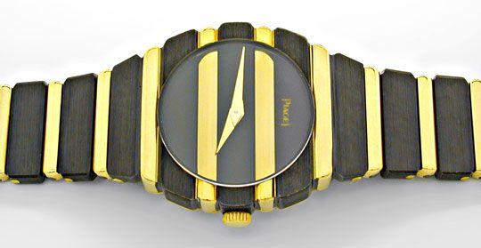 Foto 1, Piaget Polo Damen Uhr massiv Gelbgold Schwarzrhodiniert, U1083