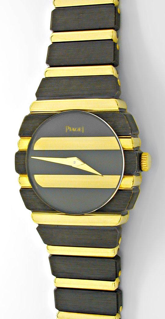 Foto 2, Piaget Polo Damen Uhr massiv Gelbgold Schwarzrhodiniert, U1083