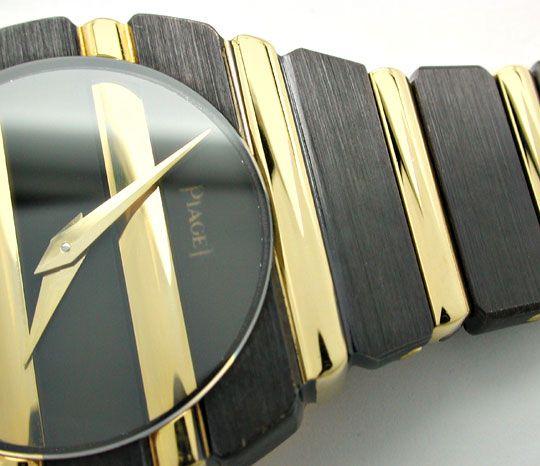 Foto 3, Piaget Polo Damen Uhr massiv Gelbgold Schwarzrhodiniert, U1083