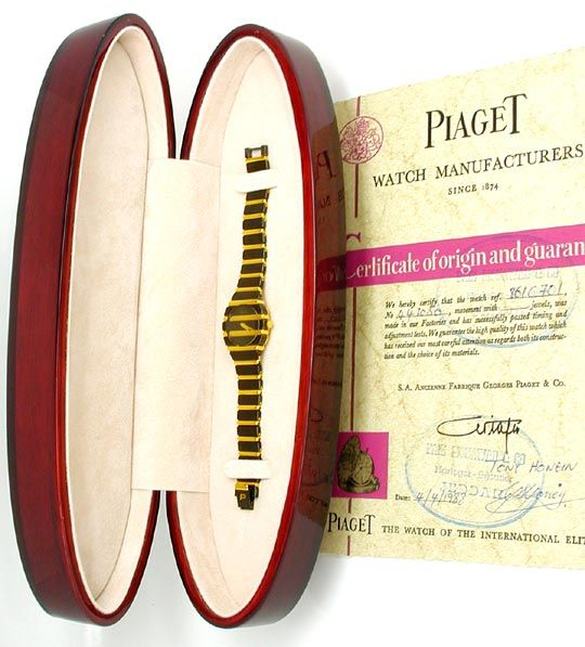 Foto 5, Piaget Polo Damen Uhr massiv Gelbgold Schwarzrhodiniert, U1083
