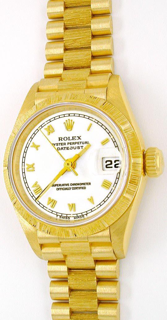 Foto 2, Rolex Datejust Damenuhr Gelbgold Borke Geprüft Neuzust., U1085